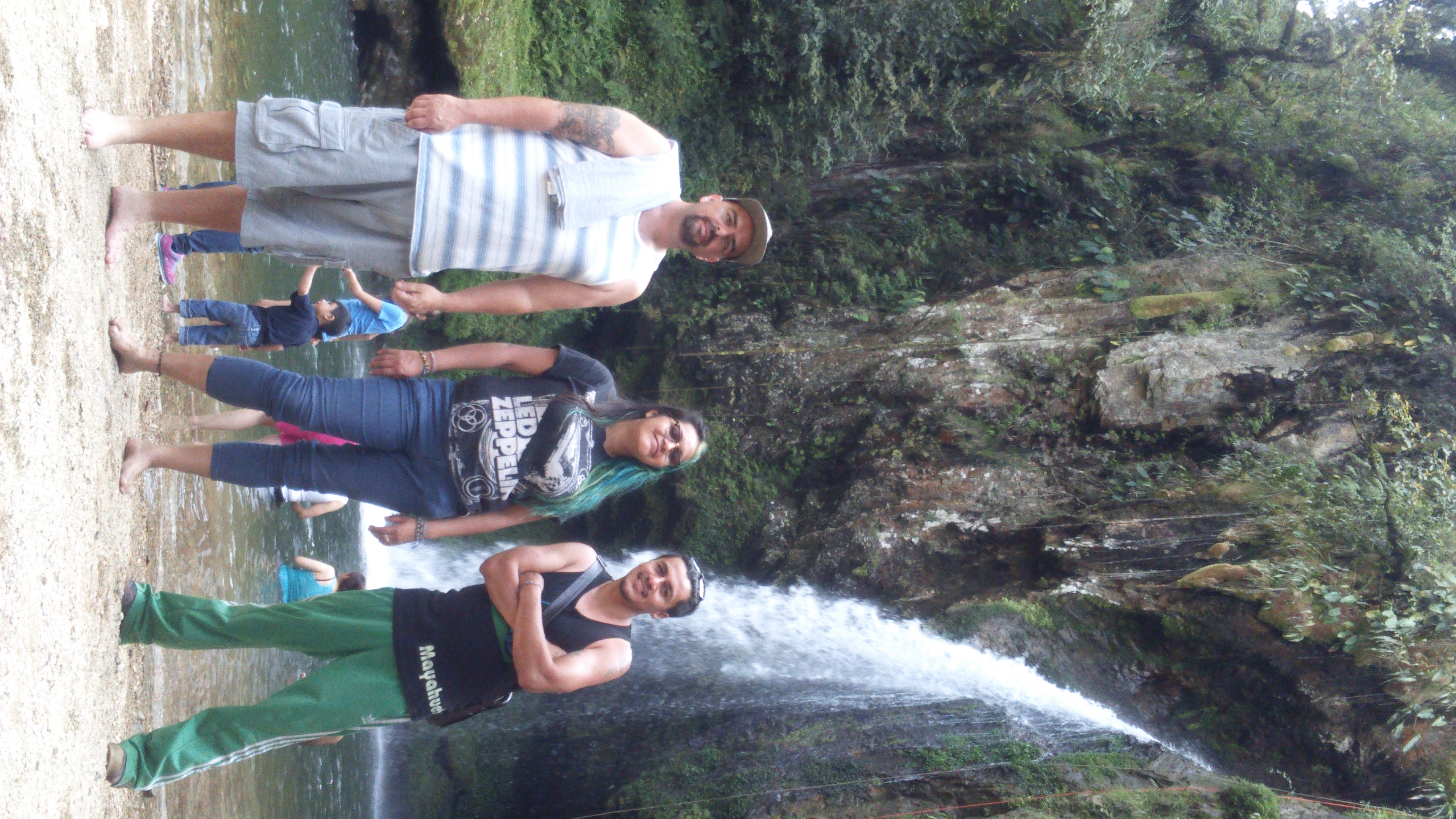 Jovita with Friends at Waterfall