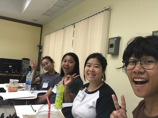 Amanda in class at Thammasat University