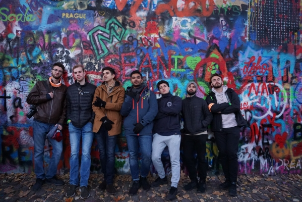 With friends in Prague at the John Lennon Wall
