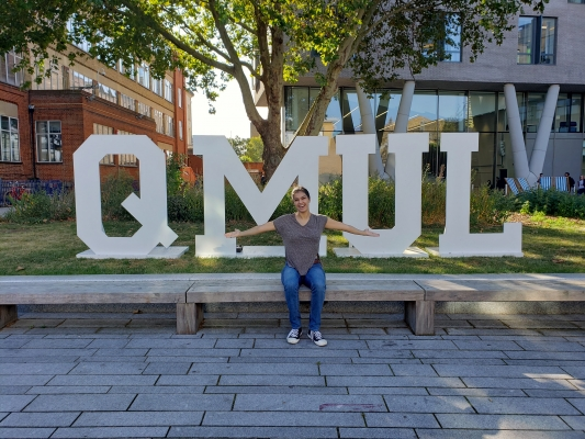 Julia on her first day at Queen Mary University of London