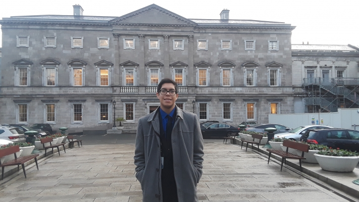 Thomas on the last day of his internship in the Oireachtas