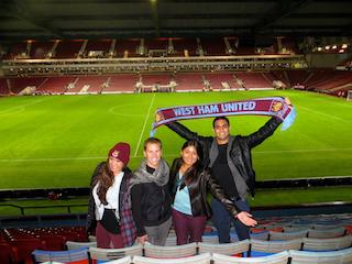Students at West Ham Stadium UK