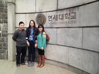 Student in front of Yonsei University Main Gate