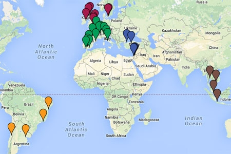 Locations covered in study abroad info meetings during International Education Week 2014, Nov 17-21.