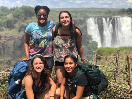 Salma with friends at Victoria Falls